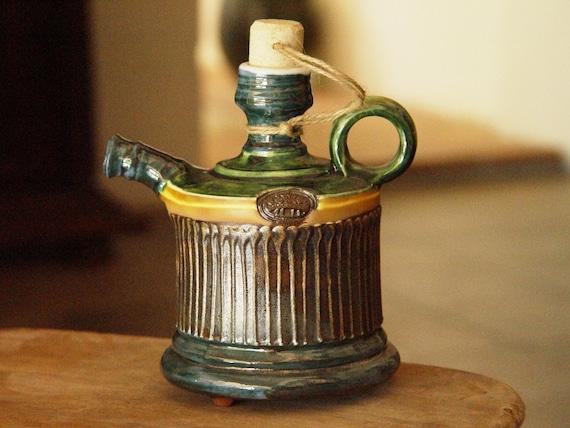 Handmade Pottery Pitcher. Small Ceramic Bottle, Ceramics and Artistic Pottery, Green Earthen Pitcher, Ceramic Art, Kitchen Decor, Home Decor