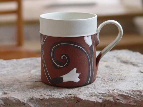 Stoneware Coffee Mug - Tea mug - Handmade Pottery Mug - Unique Floral Decoration - Durable Quality Pottery - Ceramic Art - Danko Pottery Art