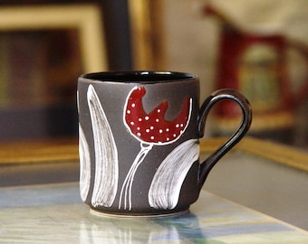 Ceramic Coffee Mug, Pottery Mug Wheel Thrown Stoneware Mug, Black and Red Mug, Tea Mug, Unique Mug, Cute Mug