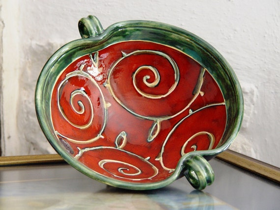Unique Pottery Fruit Bowl, Ceramic Bowl, Serving Bowl, Red Kitchen Decor, Ceramics and Pottery, Handmade Pottery, Artisan Pottery, Danko