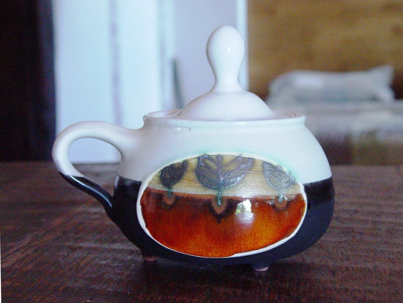Ceramic gift Lidded Ceramic Bowl Unique Pottery Sugar Bowl Pottery Bowl Covered Sugar Bowl Handmade Pottery Ceramic Sugar Bowl