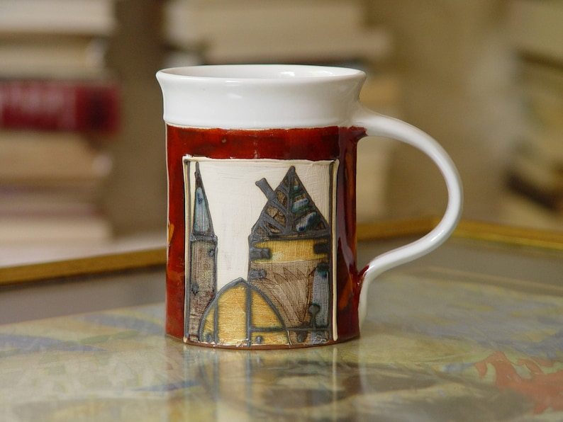 16 oz Coffee Mug Large Pottery Mug Red Ceramic Mug Tea Mug image 0
