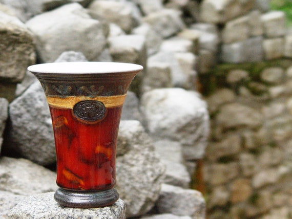 Pottery Wine Timbler - Water Mug - Handmade Ceramic Goblet - Red Earthen Water Glass - Wine Set - Artisan Gifts - Collector Pottery