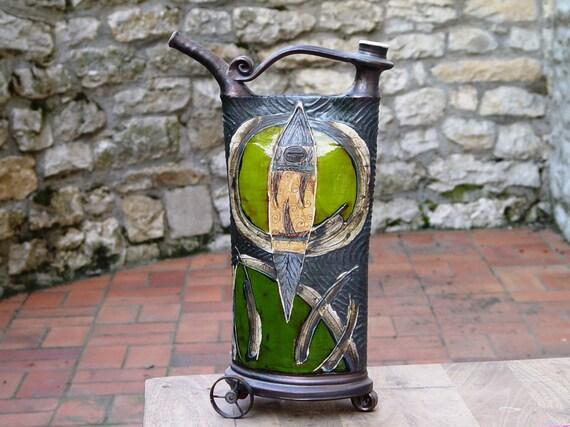 Handmade Ceramic Vessel, Iron Anniversary Gift, Decorative Pottery Teapot with Iron Elements, Kitchen Decor, Handmade Pottery, Danko Pottery