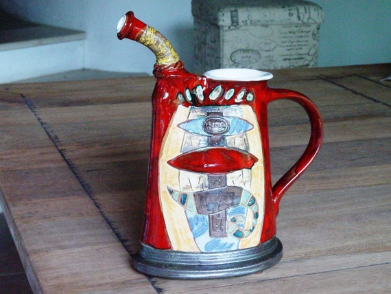 Handmade Pottery Pitcher for Water or Wine, Earthen Decanter, Ceramic Water pitcher, Pottery jug. Wine bottle, Ceramic art, Danko Pottery