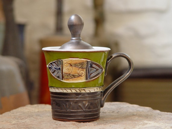 Green Pottery Sugar Bowl, Wheel Thrown Ceramic Sugar Cellar, Sugar Box with Lid, Coffee Set, Tableware Set, Sugar keeper, Colorful sugar box