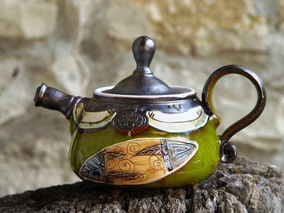 Pottery Teapot. Small Ceramic teapot. Handmade Tea Pot, Wheel Thrown Pottery teapot, Green teapot, Ceramic art, Bulgarian crafts