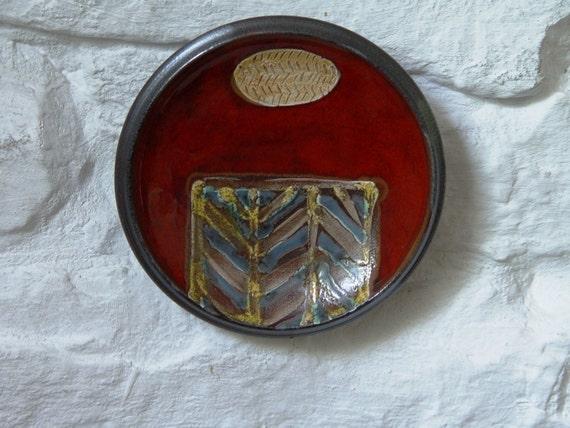 Pottery Wall Decor, Wall Hanging Ceramic Plate, Kitchen Wall Decor, Small Ceramic Plate, Fireplace Decor, Handmade Ceramics, Danko Pottery