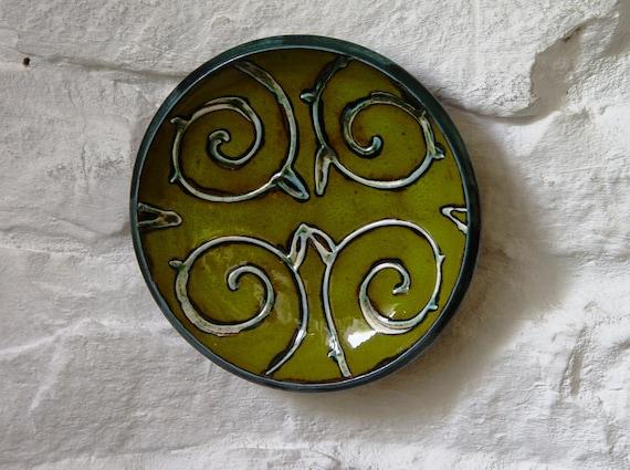 Unique Green Ceramic Plate, Small Pottery Dish, Wall Hanging Plate, Decorative Pottery Dish, Table decor, Wall Decor, Danko Pottery
