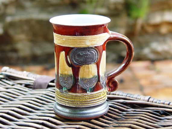 Red Pottery Mug - Slim Ceramic Cup - Handmade Mug - Unique Coffee Mug - Danko Artisan Pottery - Cute gift