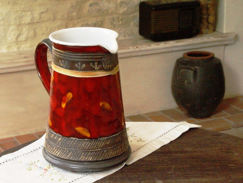 Pottery Water Pitcher  Handmade Ceramic Jug  Unique Red image 0