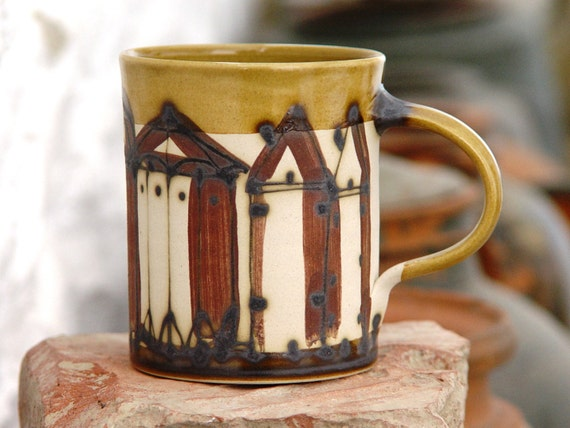 Stoneware Pottery Coffee Mug with Hand Painted Buildings, European Pottery, Unique Ceramics, Wheel Thrown Mug, Danko Pottery