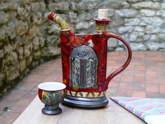 Wheel Thrown Ceramic Pitcher, Pottery Pitcher, Handmade Jug, Ceramics and Pottery, Clay Bottle, Danko Pottery Handmade