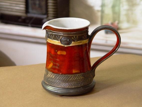 Colorful Red Pottery Jug - Handmade Ceramic Pitcher,  Milk Ewer, Wedding Gift, Artistic Pottery Vase, Colorful Kitchen Decor