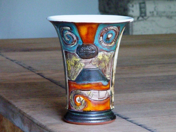 Handmade Pottery Mug for Cold Drinks - Ceramic Tumbler with Unique Hand Painted Decoration - Colorful Wine Goblet - Water Glass - Danko