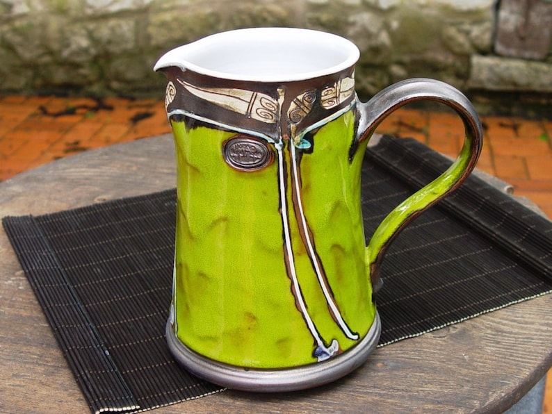 Pottery Pitcher. Water Pitcher Green Wheel Thrown pitcher image 0