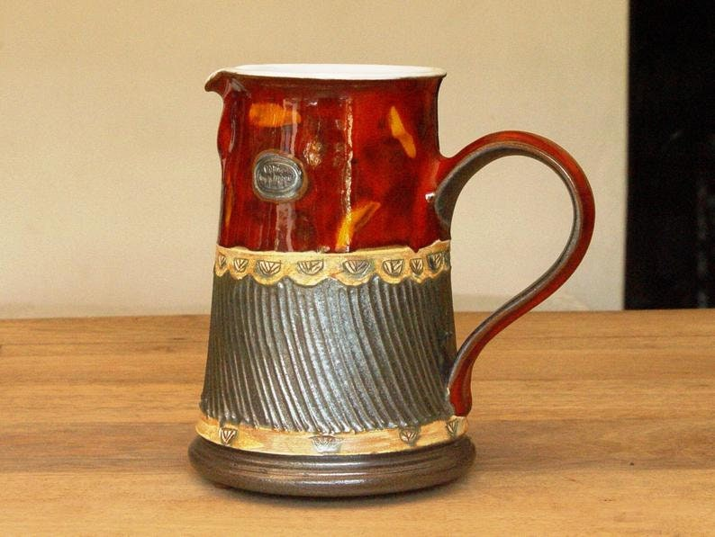 Red Pottery Pitcher Colorful Ceramic Water Jug Pottery Vase image 0