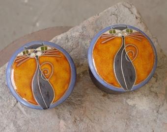 Orange Blue Lidded Pottery Bowl, Cat Bowl, Kitchen Canister, Ceramics and Pottery Sugar Jar, Lidded Clay Box, Kitchenware, Danko Pottery