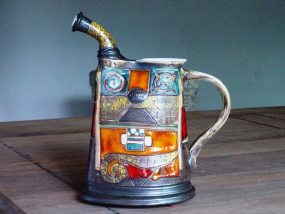 Handmade Earthen Pitcher for Water or Wine, Ceramic Decanter, Pottery Water pitcher, Ceramic Wine bottle, Ceramic art, Danko Pottery