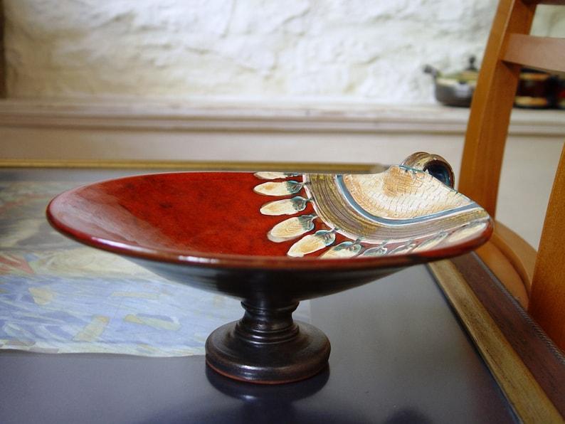 Pottery Fruit Bowl with Leg Ceramic Serving Dish Ceramic image 0