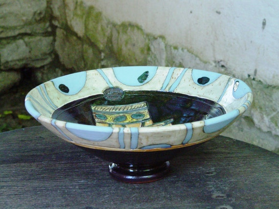 Handmade Pottery Fruit Bowl, Ceramics and Pottery, Rustic Wedding Gift, Fruit Dish, Wheel Thrown Pottery Bowl, Fruit Plate,