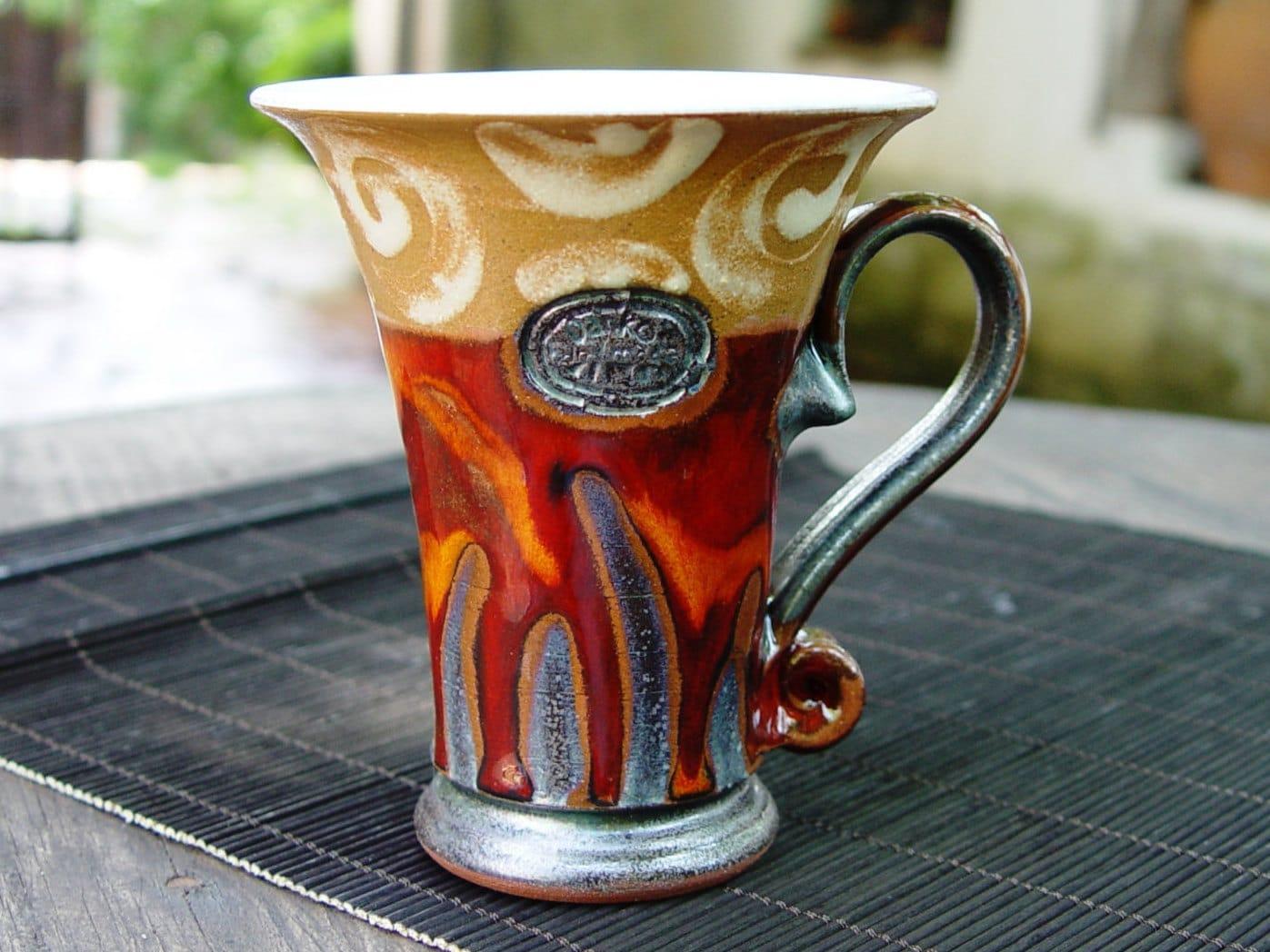 Ceramics And Pottery Coffee Mug Red Tea Mug Unique Ceramic Mug Cute Handmade Mug Handcrafted Mug Art Pottery Danko Pottery