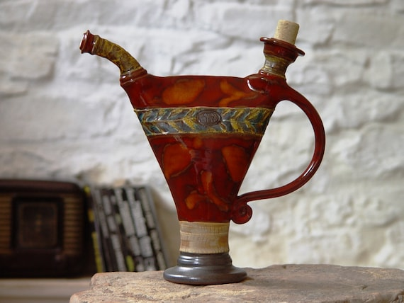 Red Pottery Decor, Ceramic Pitcher, Decorative Clay Bottle, Ceramic Decanter, Water Pitcher, Pottery Bottle, Ceramic Art, Danko Pottery