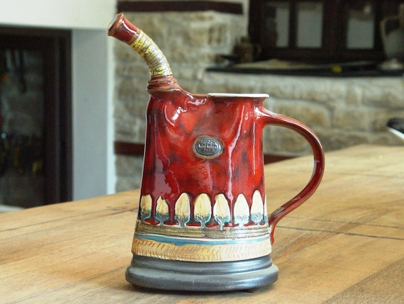 Red Pitcher for Water or Wine, Ceramics and Pottery Decanter, Water jug, Pottery pitcher. Wine bottle, Ceramic art