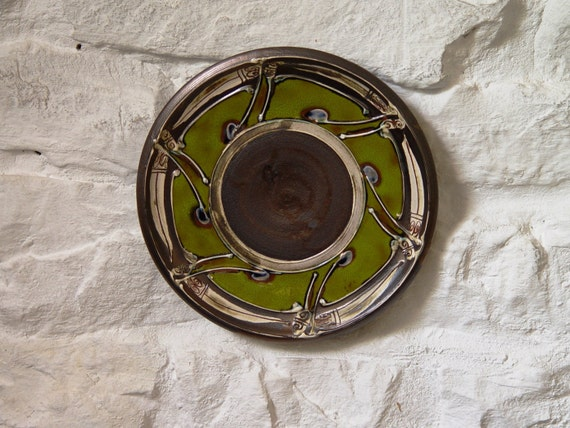Ceramics and Pottery Wall Decor, Green Plate, Wheel Thrown Hand Painted Pottery Dish, Fireplace Decor, Unique Art Pottery, Danko Ceramics