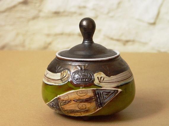 Handmade Pottery Sugar Bowl, Lidded Ceramic Sugar Cellar, Sugar box, Coffee set, Sugar keeper, Green sugar bowl