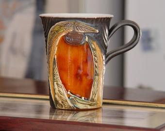 Colorful Pottery Mug - Unique Handmade Coffee/Tea Mug -  Wheel Thrown Ceramics - Birthday Gift - Danko Pottery