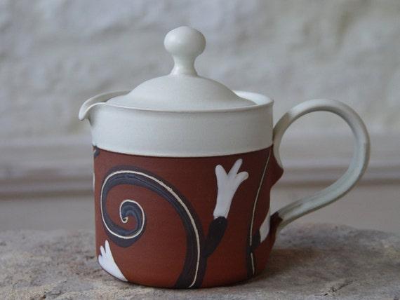 Handmade Stoneware Teapot. Unique Pottery Vessel, Hot Water Jug, Creamer, Collectible Pottery, Danko Art Pottery, Home and Kitchen Decor