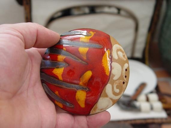 Handmade Salt Shaker, Ceramic Salt or Pepper Box, Pottery Shaker, Kitchen Accessories, Red Pottery Salt Shaker, Danko ArtisticPottery