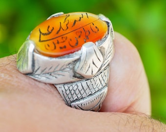 antique handmade Silver  Carnelian stone  statement seal ring from Afghanistan AQEEQ No:19237