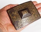 Antique Engraved Large islamic Afghan belt buckle 19th century No 18 A
