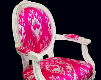 vintage lacquered chair with pink uzbek silk ikat upholstery
