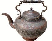 Antique Engraved Central Asian huge copper Teapot Ewer