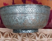 Antique Engraved Large islamic Tinned Copper Bowl, 18 19th C. from Afghanistan No 18 9
