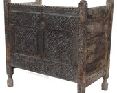 antique 19th century orient vintage cedar wood treasure Dowry Chest from Nuristan Afghanistan No 1
