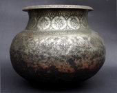 Antique Engraved Large islamic Tinned Copper cooking pot High Quality, 18 19th C. from Afghanistan No 18 دیگ