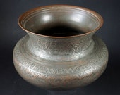 Antique Engraved Large islamic Tinned Copper Wine Bowl, 18 19th C. from Afghanistan No 18 3