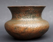 Antique Engraved Large islamic Tinned Copper Bowl, 18 19th C. from Afghanistan tas No 18 25