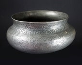 Antique Engraved Large islamic Tinned Copper Wine Bowl, 18 19th C. from Afghanistan No 18 4