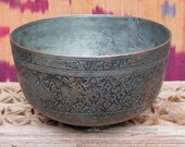 Antique Engraved Large islamic Tinned Copper Bowl, 18 19th C. from Afghanistan No 18 21