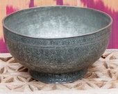 Antique Engraved Large islamic Tinned Copper Bowl, 18 19th C. from Afghanistan No 18 48
