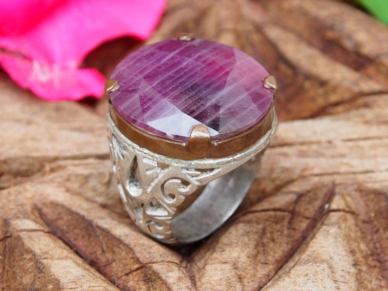 antique handmade Silver ruby stone  statement  ring from Afghanistan No:WL-471