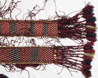 580 x 13 cm  Rare antique oriental hand Knotted nomadic kilim tent band No:A