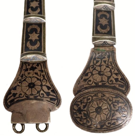 19th Century Armenian Antique Niello Silver Leathe