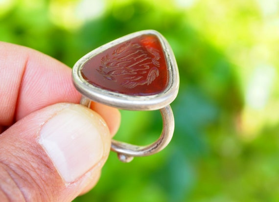 antique handmade Silver  Carnelian stone  statement  ring from Afghanistan AQEEQ No:19229