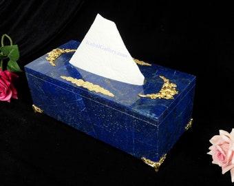 Hand Crafted stunning genuine Lapis Lazuli Gemstone tissue Kleenex napkin Box Holder case Cover brass decorated Afghanistan 19/A